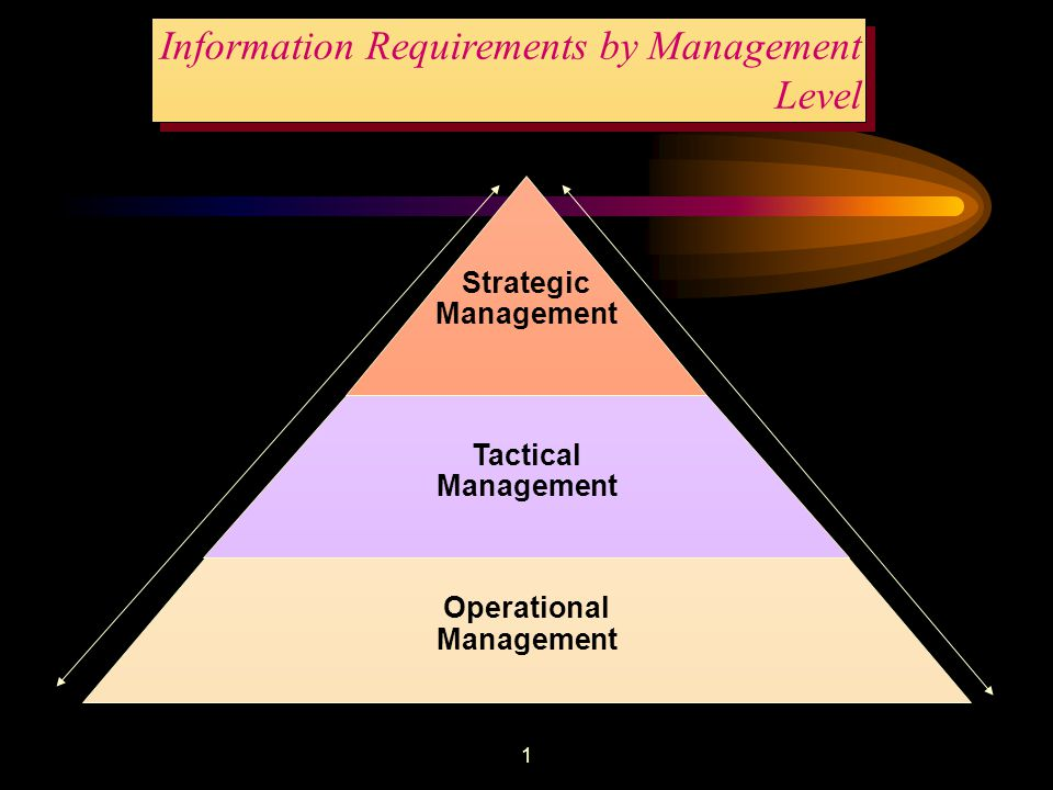 1 Information Requirements by Management Level Strategic Management Tactical Management Operational Management Decisions Information