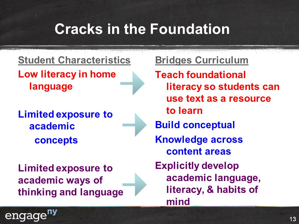 Cracks in the Foundation Student Characteristics Low literacy in home language Limited exposure to academic concepts Limited exposure to academic ways of thinking and language Bridges Curriculum Teach foundational literacy so students can use text as a resource to learn Build conceptual Knowledge across content areas Explicitly develop academic language, literacy, & habits of mind 13