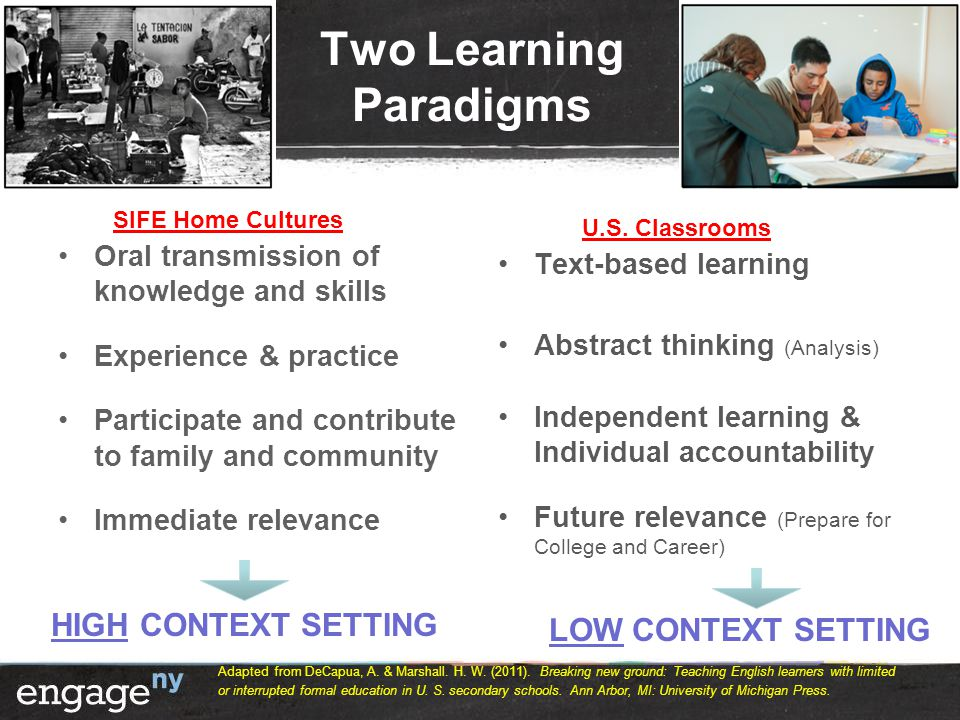 Two Learning Paradigms Oral transmission of knowledge and skills Experience & practice Participate and contribute to family and community Immediate relevance Text-based learning Abstract thinking (Analysis) Independent learning & Individual accountability Future relevance (Prepare for College and Career) HIGH CONTEXT SETTING LOW CONTEXT SETTING SIFE Home Cultures U.S.