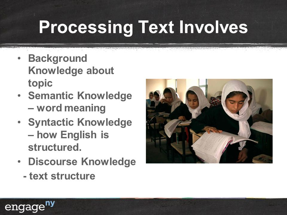 Processing Text Involves Background Knowledge about topic Semantic Knowledge – word meaning Syntactic Knowledge – how English is structured.