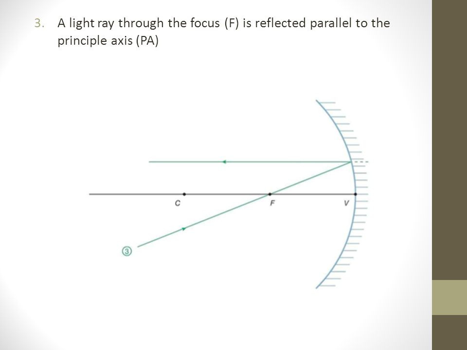 3.A light ray through the focus (F) is reflected parallel to the principle axis (PA)