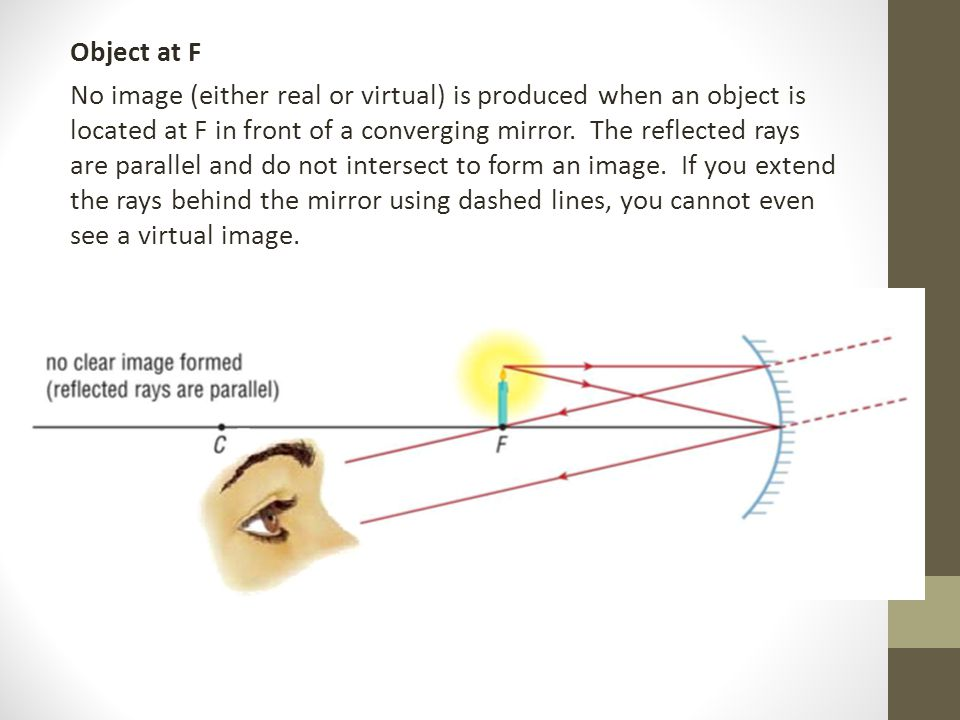 Object at F No image (either real or virtual) is produced when an object is located at F in front of a converging mirror.