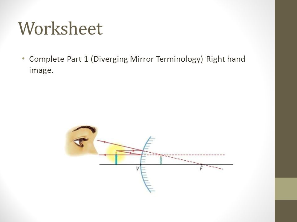 Worksheet Complete Part 1 (Diverging Mirror Terminology) Right hand image.