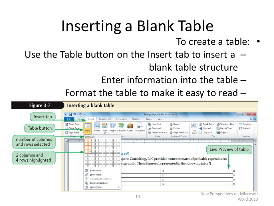 Inserting a Blank Table To create a table: – Use the Table button on the Insert tab to insert a blank table structure – Enter information into the table – Format the table to make it easy to read New Perspectives on Microsoft Word
