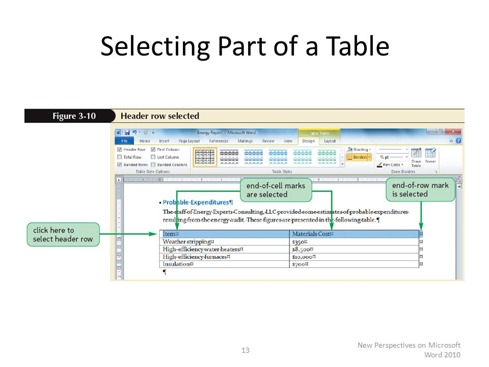 Selecting Part of a Table New Perspectives on Microsoft Word