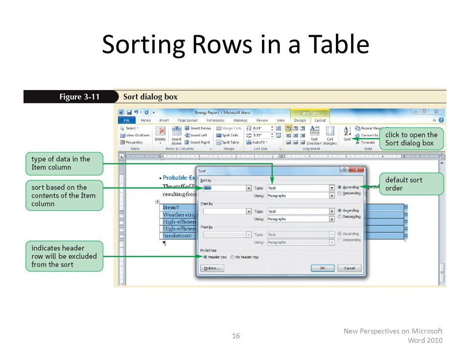 Sorting Rows in a Table New Perspectives on Microsoft Word