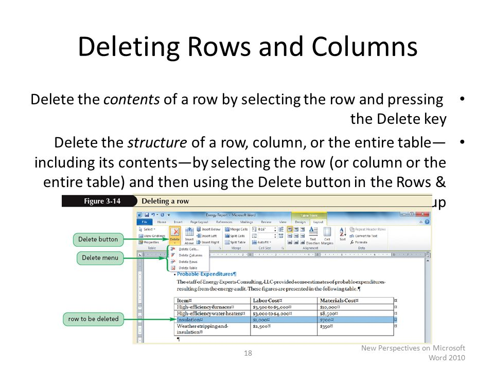 Deleting Rows and Columns Delete the contents of a row by selecting the row and pressing the Delete key Delete the structure of a row, column, or the entire table— including its contents—by selecting the row (or column or the entire table) and then using the Delete button in the Rows & Columns group New Perspectives on Microsoft Word