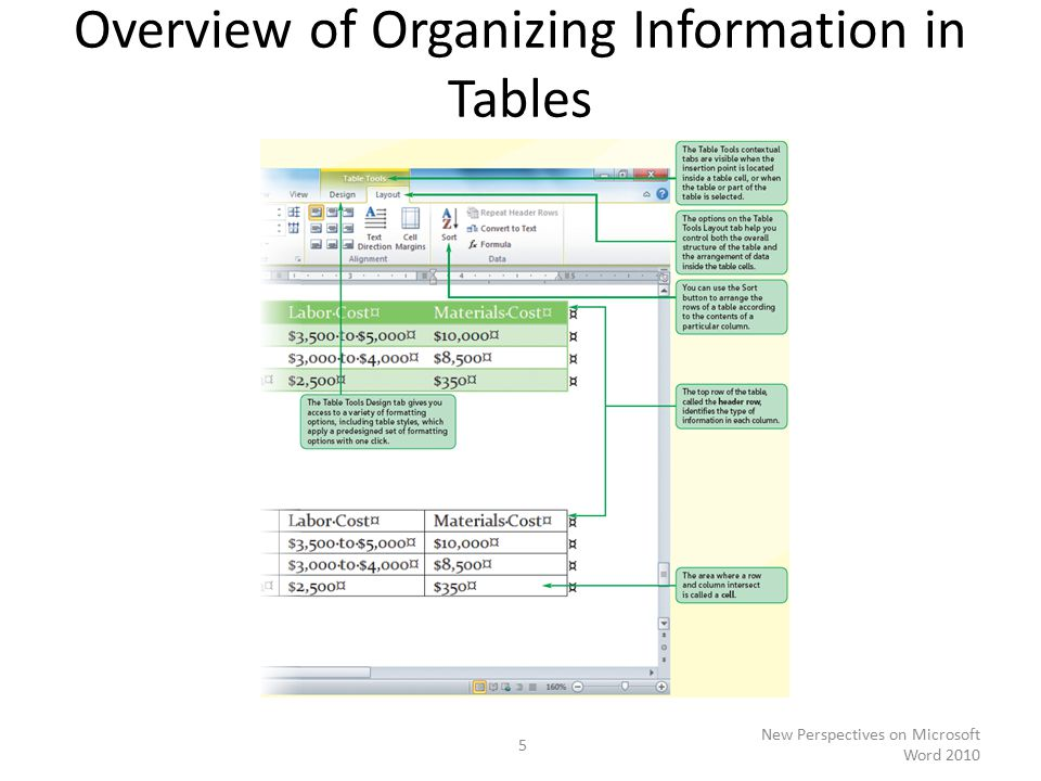 Overview of Organizing Information in Tables New Perspectives on Microsoft Word