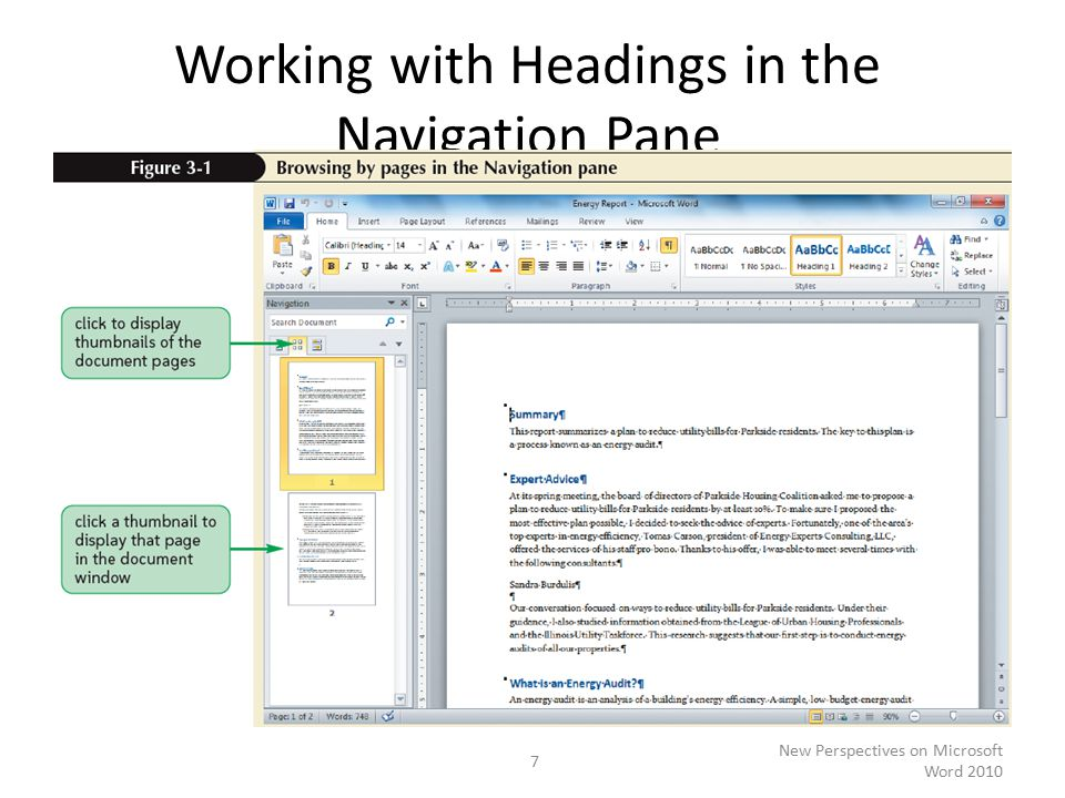 Working with Headings in the Navigation Pane New Perspectives on Microsoft Word