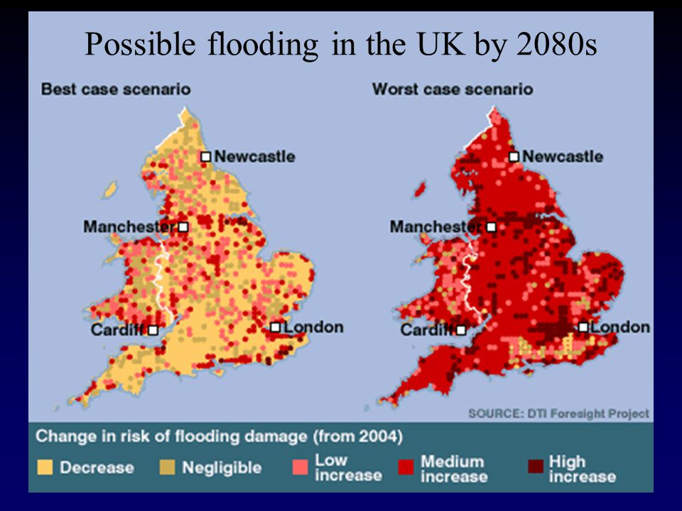 Possible flooding in the UK by 2080s