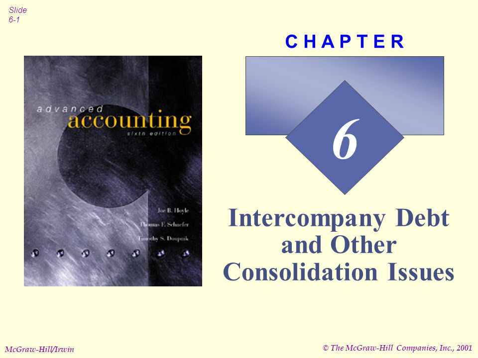© The McGraw-Hill Companies, Inc., 2001 Slide 6-1 McGraw-Hill/Irwin 6 C H A P T E R Intercompany Debt and Other Consolidation Issues