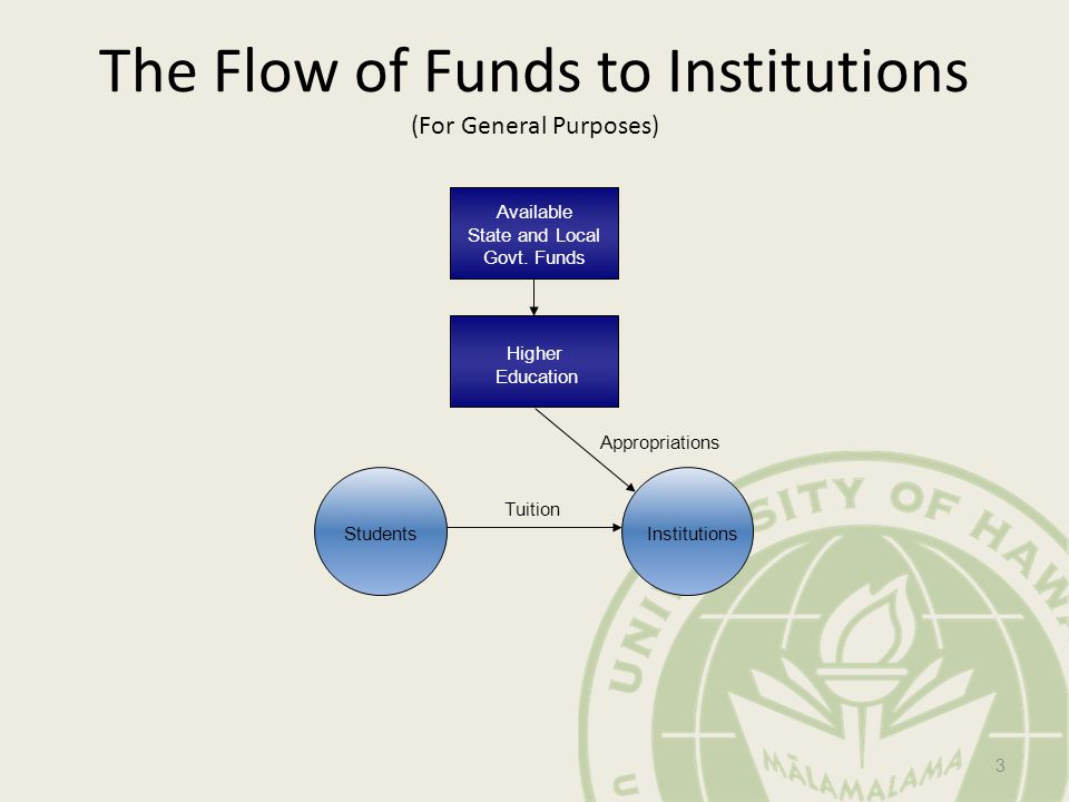 The Flow of Funds to Institutions (For General Purposes) Appropriations Tuition Available State and Local Govt.