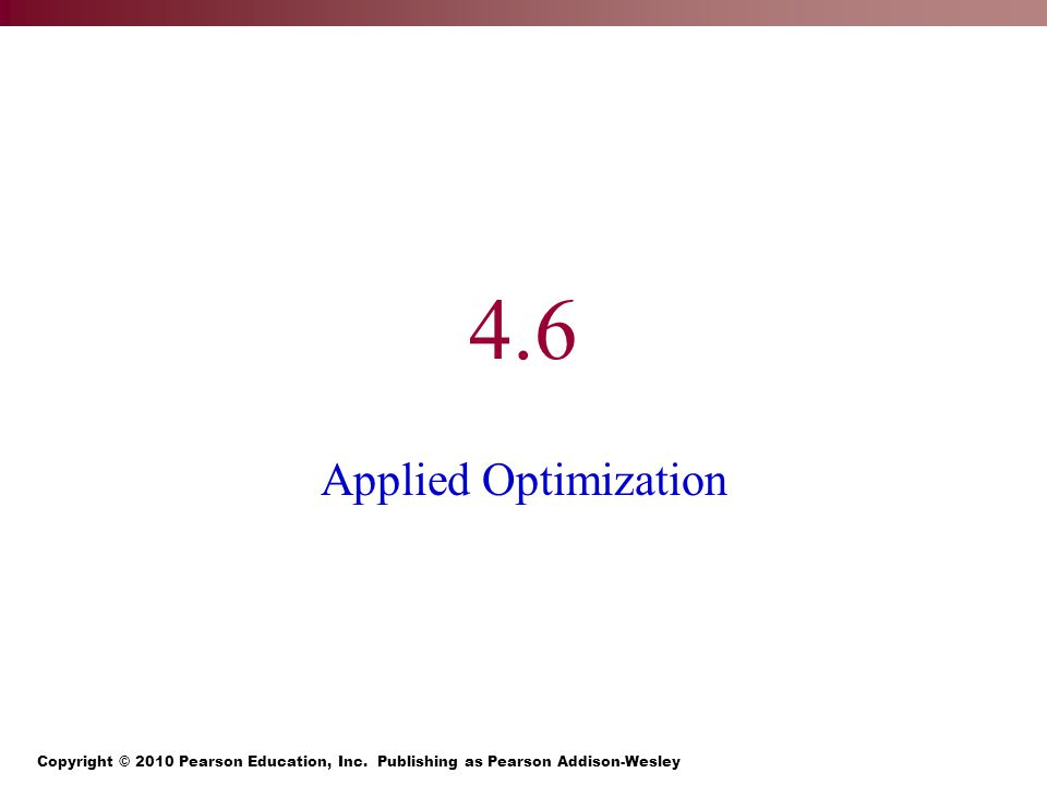 4.6 Applied Optimization
