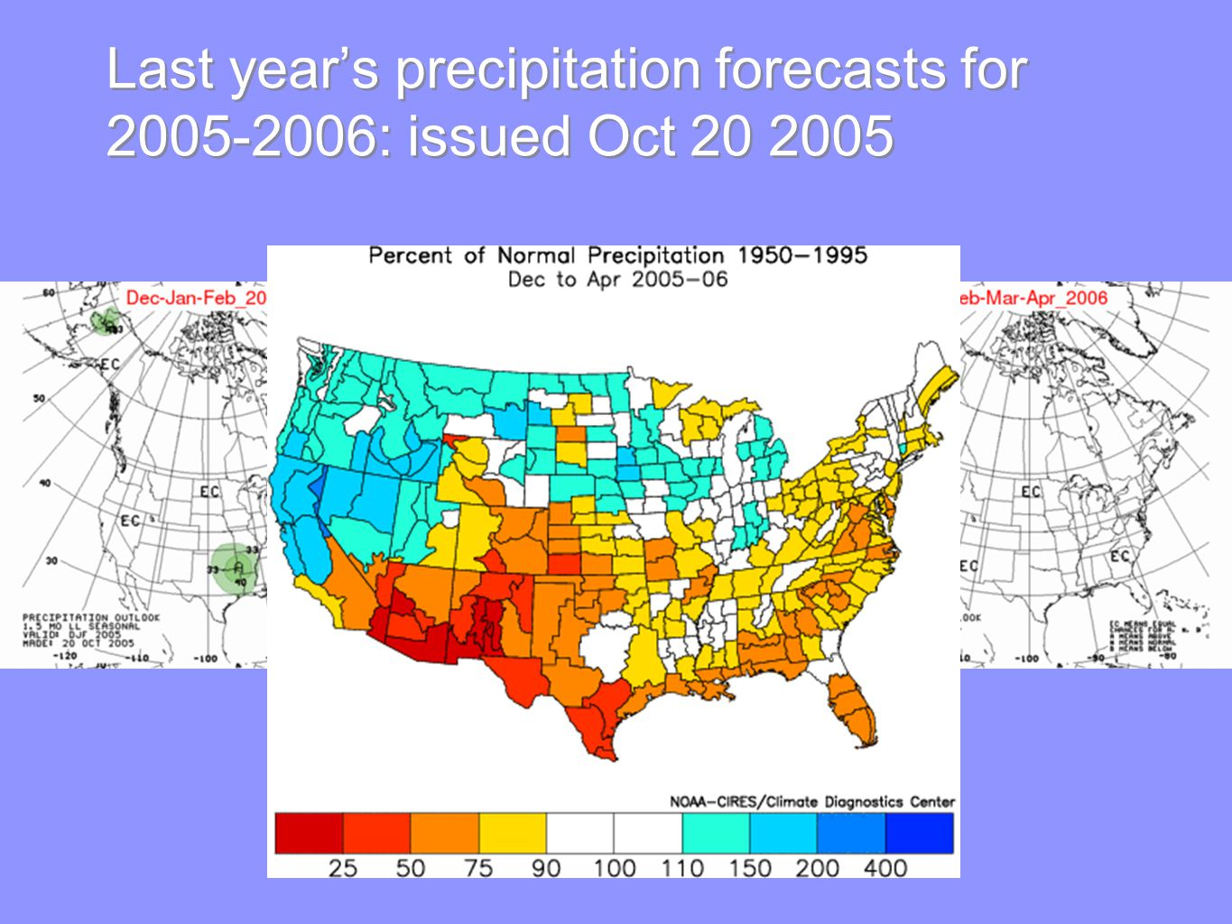 Last year's precipitation forecasts for : issued Oct