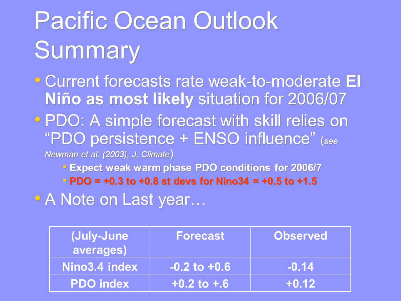 Pacific Ocean Outlook Summary Current forecasts rate weak-to-moderate El Niño as most likely situation for 2006/07 PDO: A simple forecast with skill relies on PDO persistence + ENSO influence ( see Newman et al.