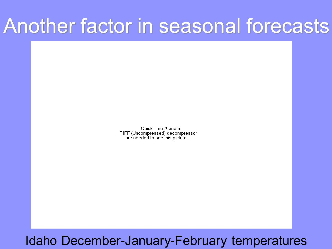 Another factor in seasonal forecasts Idaho December-January-February temperatures