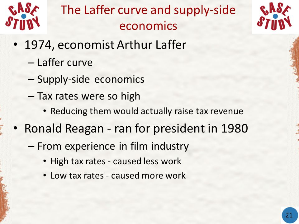1974, economist Arthur Laffer – Laffer curve – Supply-side economics – Tax rates were so high Reducing them would actually raise tax revenue Ronald Reagan - ran for president in 1980 – From experience in film industry High tax rates - caused less work Low tax rates - caused more work The Laffer curve and supply-side economics 21