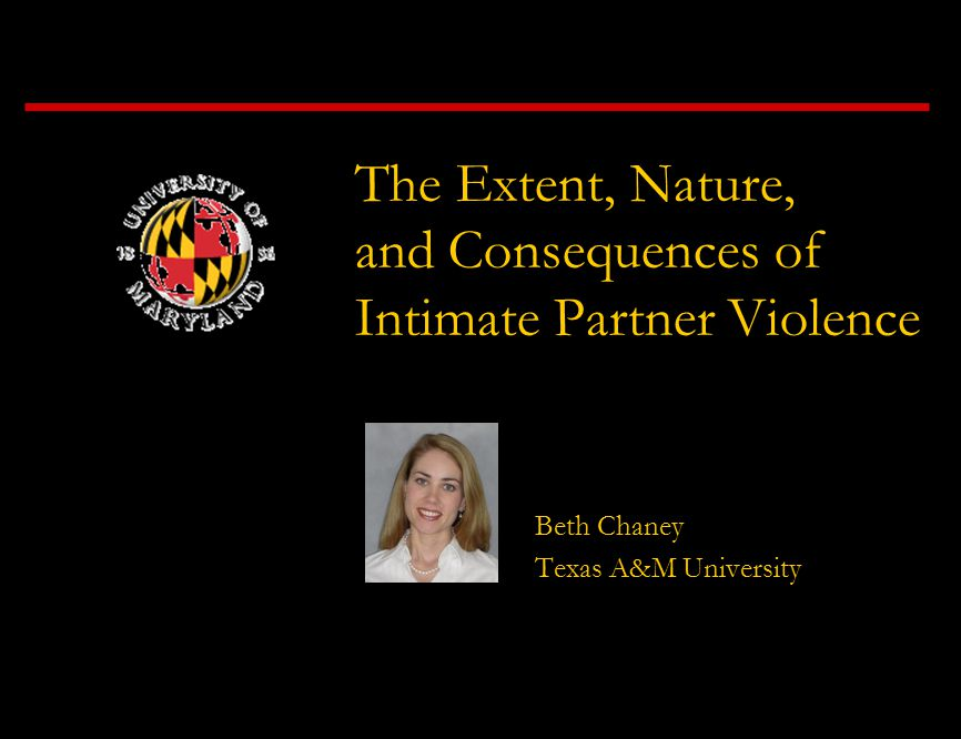 The Extent, Nature, and Consequences of Intimate Partner Violence Beth Chaney Texas A&M University