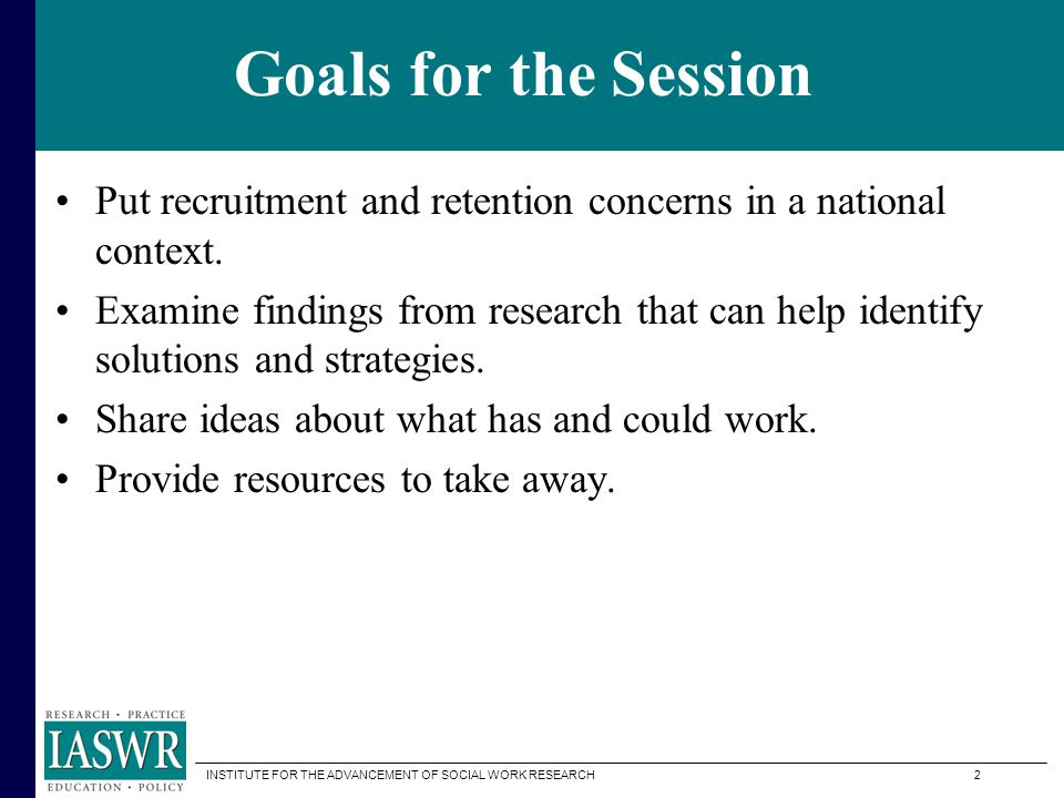 INSTITUTE FOR THE ADVANCEMENT OF SOCIAL WORK RESEARCH 1 A