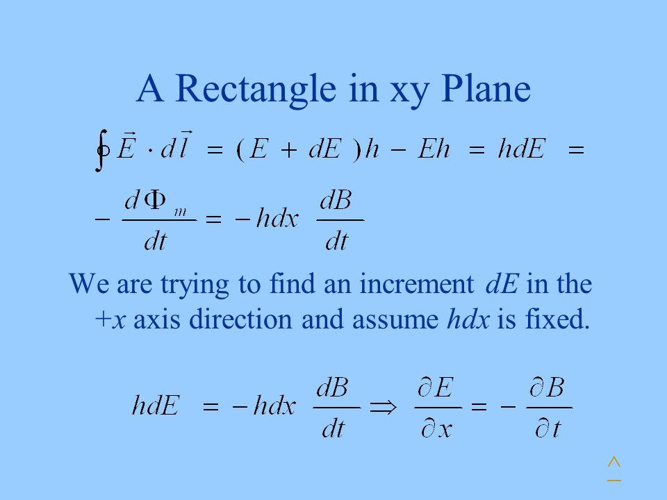 A Rectangle in xy Plane ^ We are trying to find an increment dE in the +x axis direction and assume hdx is fixed.