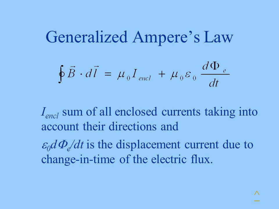 Generalized Ampere's Law ^ I encl sum of all enclosed currents taking into account their directions and  0 d  e /dt is the displacement current due to change-in-time of the electric flux.