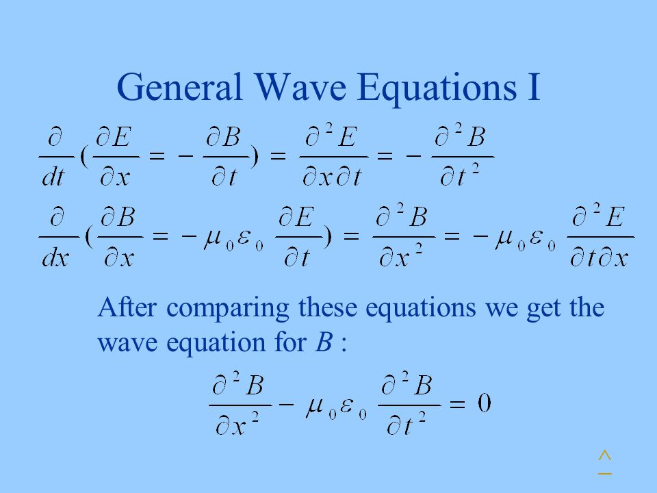 General Wave Equations I ^ After comparing these equations we get the wave equation for B :