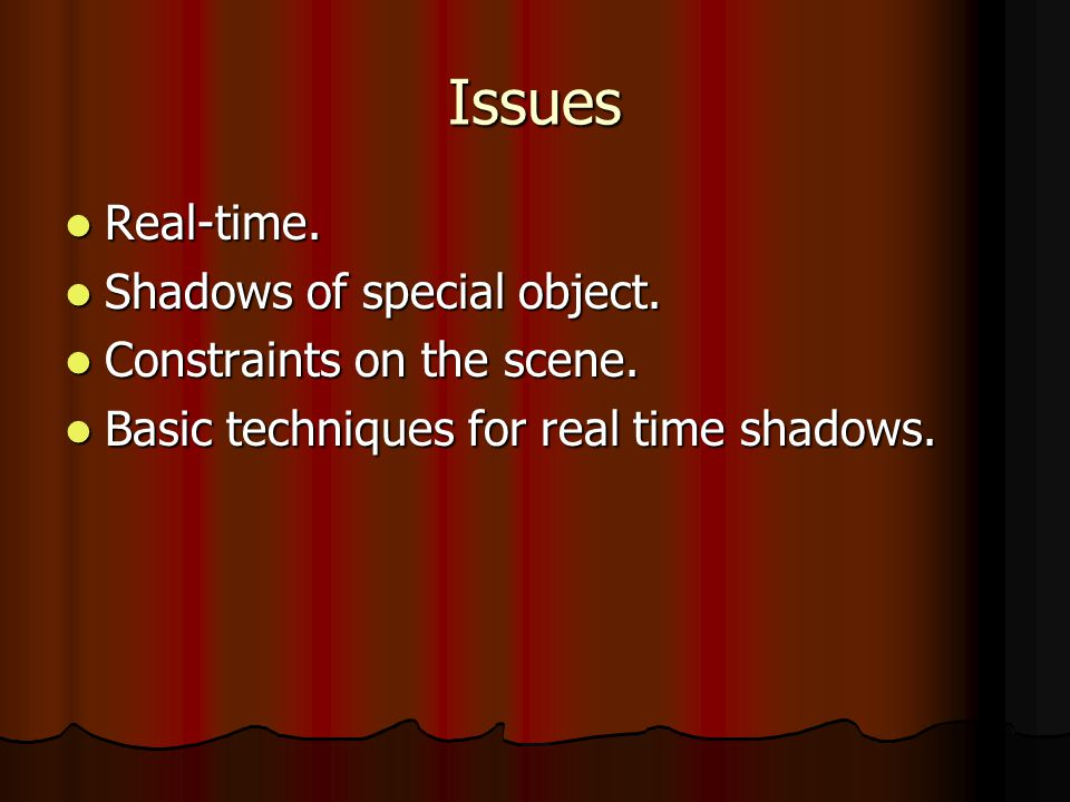 Issues Real-time. Real-time. Shadows of special object.