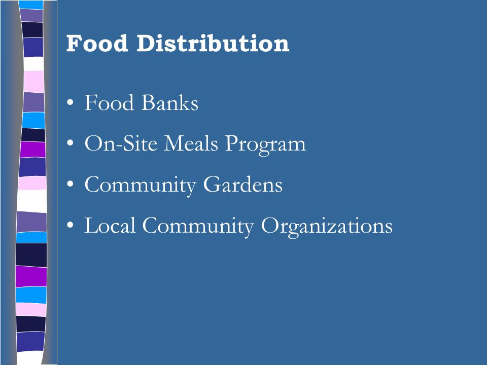 Food Distribution Food Banks On-Site Meals Program Community Gardens Local Community Organizations