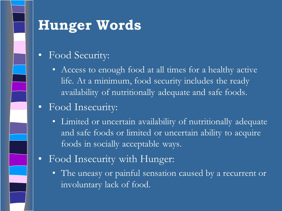 Hunger Words Food Security: Access to enough food at all times for a healthy active life.