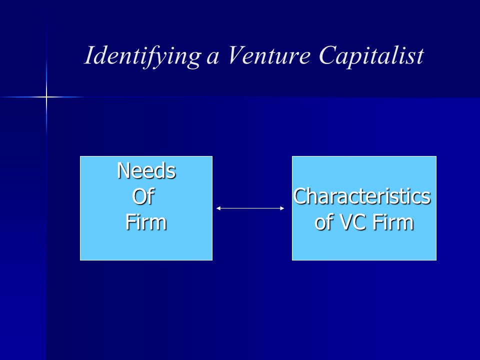 Identifying a Venture Capitalist NeedsOfFirmCharacteristics of VC Firm