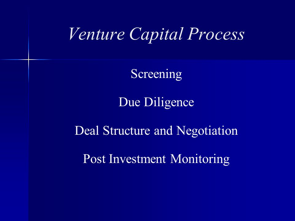 Venture Capital Process Screening Due Diligence Deal Structure and Negotiation Post Investment Monitoring