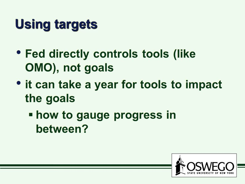 Using targets Fed directly controls tools (like OMO), not goals it can take a year for tools to impact the goals  how to gauge progress in between.