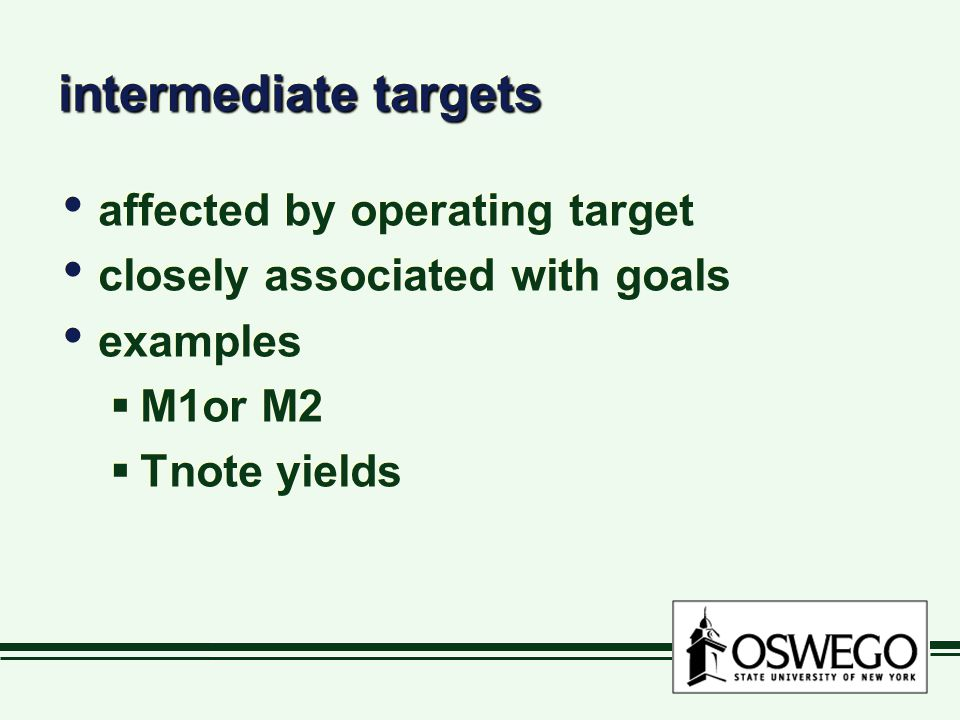 intermediate targets affected by operating target closely associated with goals examples  M1or M2  Tnote yields affected by operating target closely associated with goals examples  M1or M2  Tnote yields