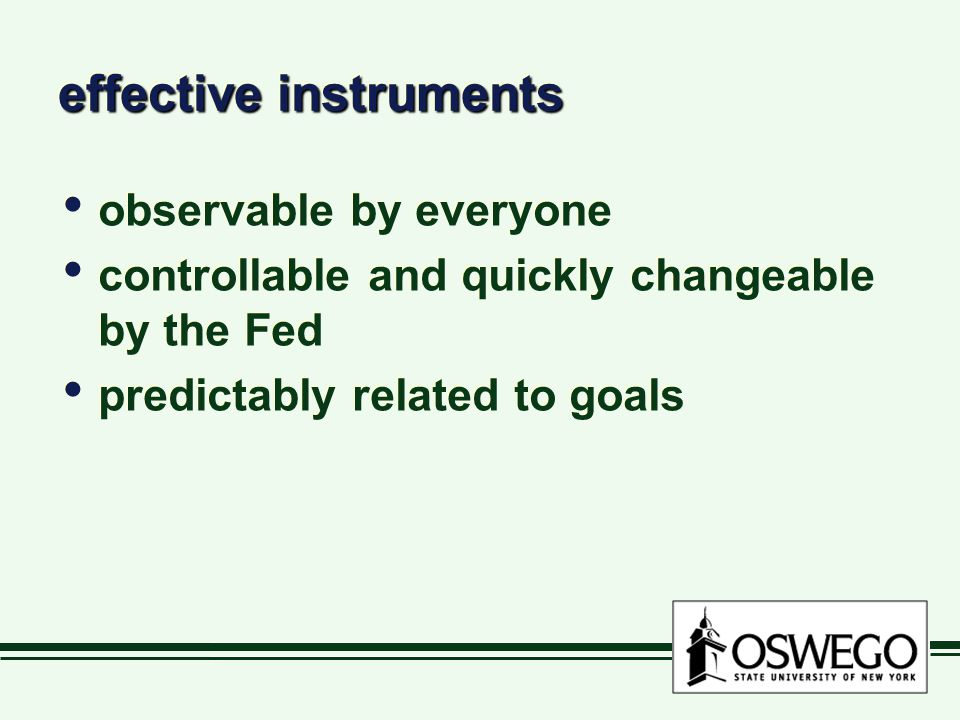 effective instruments observable by everyone controllable and quickly changeable by the Fed predictably related to goals observable by everyone controllable and quickly changeable by the Fed predictably related to goals
