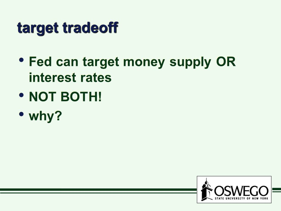 target tradeoff Fed can target money supply OR interest rates NOT BOTH.