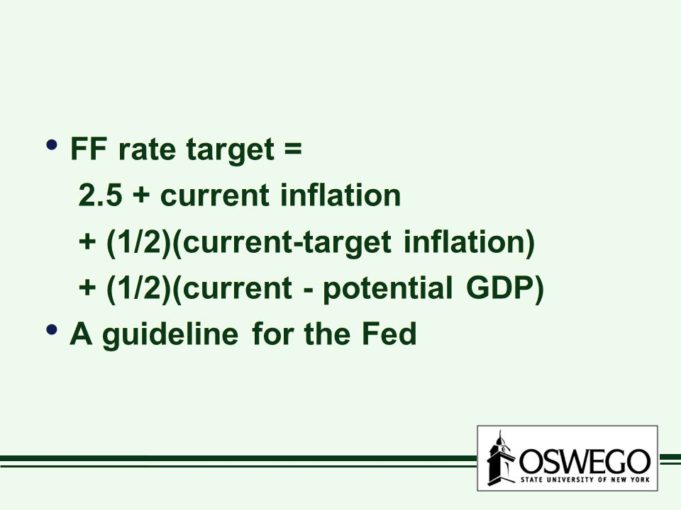 FF rate target = current inflation + (1/2)(current-target inflation) + (1/2)(current - potential GDP) A guideline for the Fed FF rate target = current inflation + (1/2)(current-target inflation) + (1/2)(current - potential GDP) A guideline for the Fed