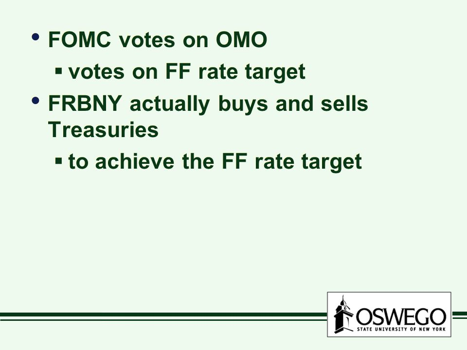 FOMC votes on OMO  votes on FF rate target FRBNY actually buys and sells Treasuries  to achieve the FF rate target FOMC votes on OMO  votes on FF rate target FRBNY actually buys and sells Treasuries  to achieve the FF rate target