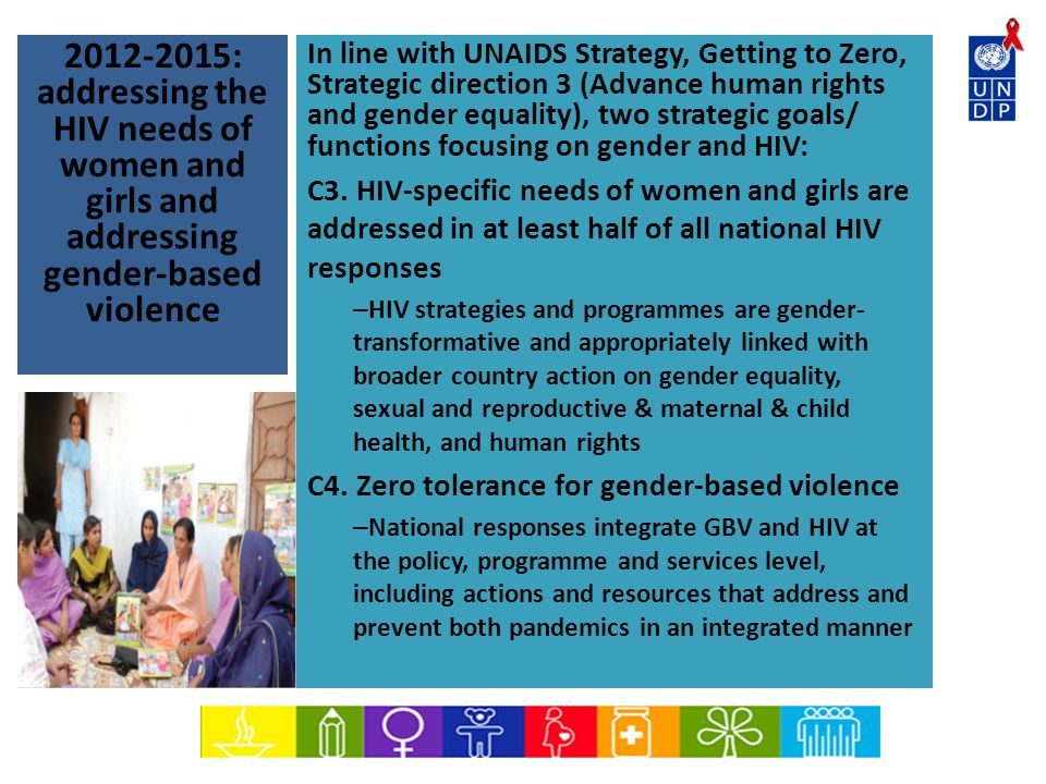 : addressing the HIV needs of women and girls and addressing gender-based violence In line with UNAIDS Strategy, Getting to Zero, Strategic direction 3 (Advance human rights and gender equality), two strategic goals/ functions focusing on gender and HIV: C3.