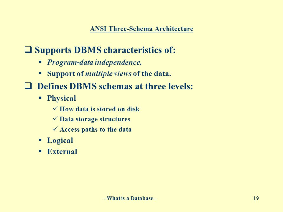 --What is a Database--19 ANSI Three-Schema Architecture  Supports DBMS characteristics of:  Program-data independence.