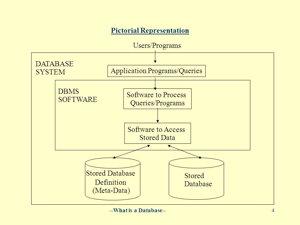 --What is a Database--4 Pictorial Representation Users/Programs Application Programs/Queries Software to Process Queries/Programs Software to Access Stored Data DATABASE SYSTEM DBMS SOFTWARE Stored Database Definition (Meta-Data) Stored Database