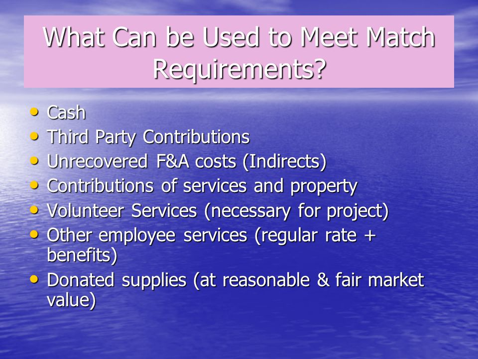 What Can be Used to Meet Match Requirements.