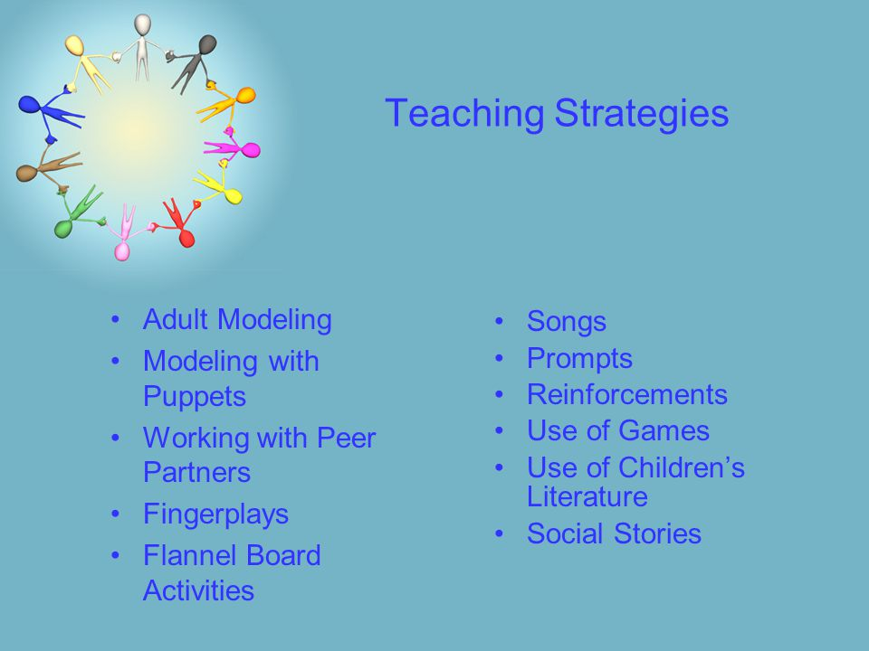 Teaching Strategies Adult Modeling Modeling with Puppets Working with Peer Partners Fingerplays Flannel Board Activities Songs Prompts Reinforcements Use of Games Use of Children's Literature Social Stories