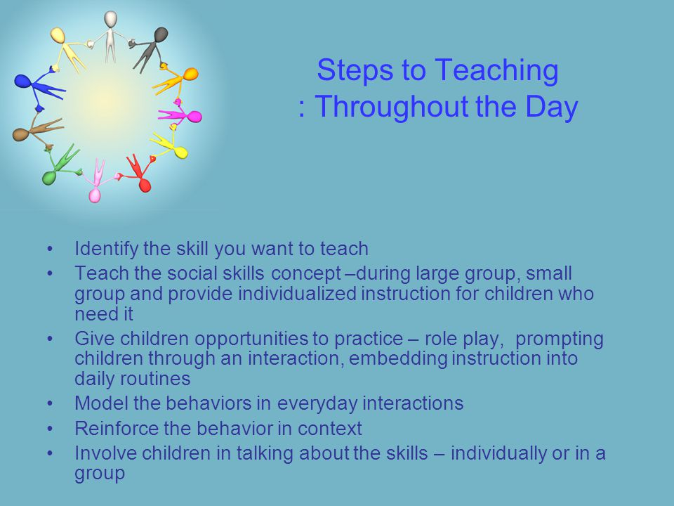 Steps to Teaching : Throughout the Day Identify the skill you want to teach Teach the social skills concept –during large group, small group and provide individualized instruction for children who need it Give children opportunities to practice – role play, prompting children through an interaction, embedding instruction into daily routines Model the behaviors in everyday interactions Reinforce the behavior in context Involve children in talking about the skills – individually or in a group