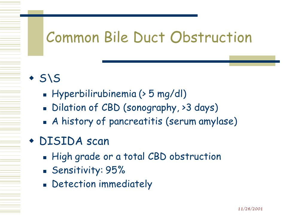 11/26/2001 Common Bile Duct Obstruction  Delayed visualization of the gall bladder Clinical settings associated with physiologic failure of the gallbladder to filling e.g.