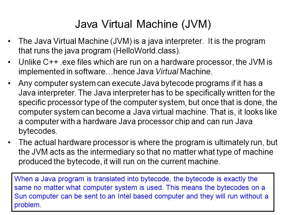 Java Virtual Machine (JVM) The Java Virtual Machine (JVM) is a java interpreter.