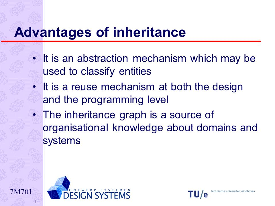 7M Advantages of inheritance It is an abstraction mechanism which may be used to classify entities It is a reuse mechanism at both the design and the programming level The inheritance graph is a source of organisational knowledge about domains and systems