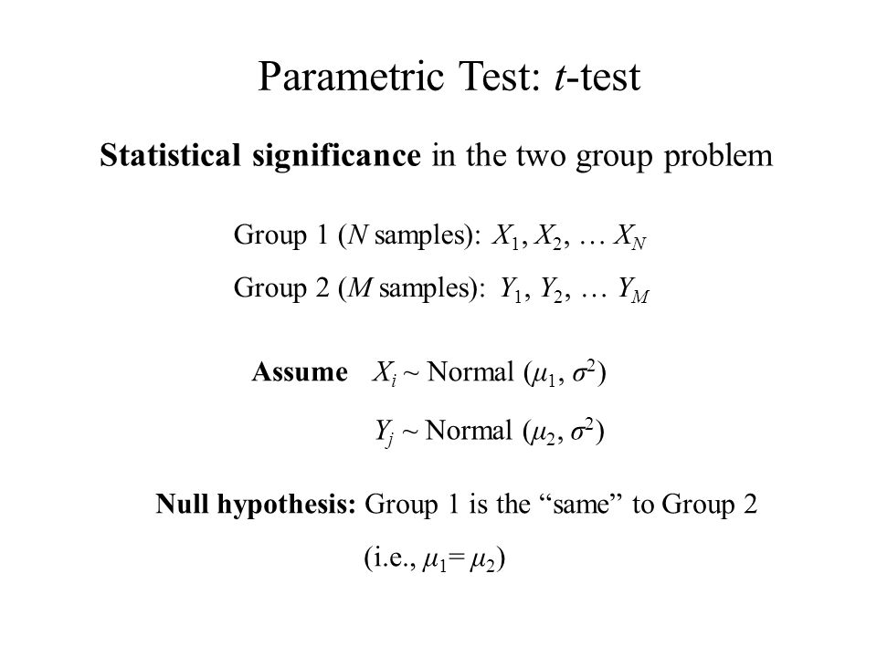 Group 1 (N samples): X 1, X 2, … X N Group 2 (M samples): Y 1, Y 2, … Y M Statistical significance in the two group problem Assume Y j ~ Normal (μ 2, σ 2 ) X i ~ Normal (μ 1, σ 2 ) Null hypothesis: Group 1 is the same to Group 2 (i.e., μ 1 = μ 2 ) Parametric Test: t-test