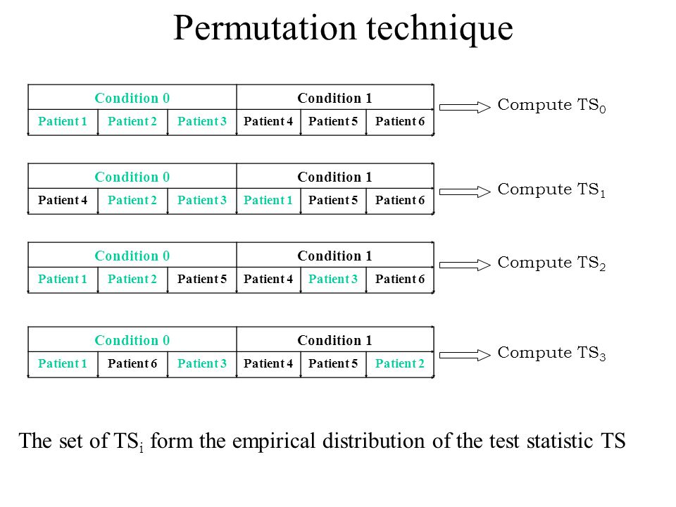 Permutation technique Condition 0Condition 1 Patient 4Patient 2Patient 3Patient 1Patient 5Patient 6 Condition 0Condition 1 Patient 1Patient 2Patient 5Patient 4Patient 3Patient 6 Condition 0Condition 1 Patient 1Patient 6Patient 3Patient 4Patient 5Patient 2 Condition 0Condition 1 Patient 1Patient 2Patient 3Patient 4Patient 5Patient 6 Compute TS 0 Compute TS 1 Compute TS 2 Compute TS 3 The set of TS i form the empirical distribution of the test statistic TS