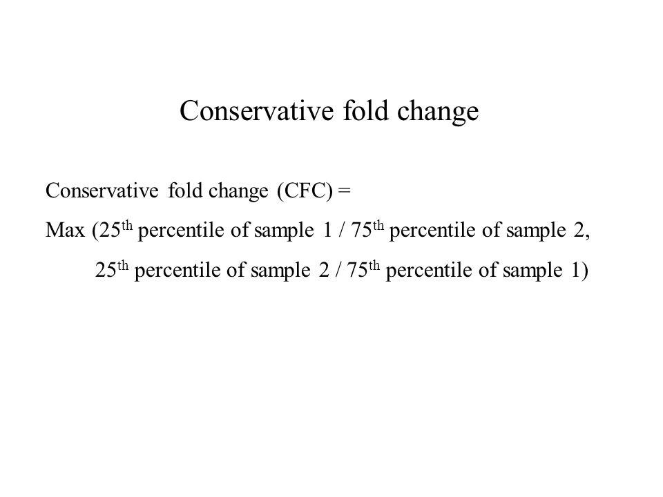 Conservative fold change Conservative fold change (CFC) = Max (25 th percentile of sample 1 / 75 th percentile of sample 2, 25 th percentile of sample 2 / 75 th percentile of sample 1)