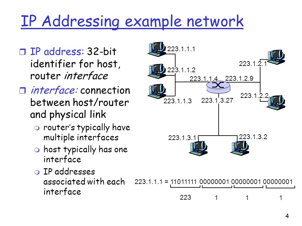 4 IP Addressing example network r IP address: 32-bit identifier for host, router interface r interface: connection between host/router and physical link m router's typically have multiple interfaces m host typically has one interface m IP addresses associated with each interface =